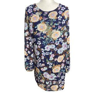 Lucca Couture navy blue floral dress large